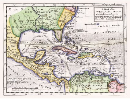 West Indies & the Adjacent Countries, 1727, Moll