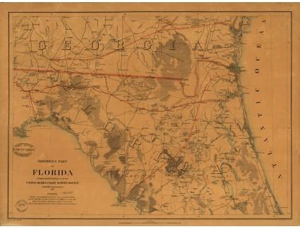 North Florida, with South Georgia, 1864, U.S. Coast Survey Office, Lindenkohl