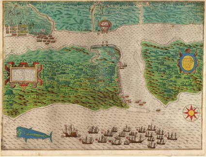 St. Augustine during Drake's 1586 Raid, Published by Boazio in 1589